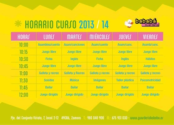 Horarios curso 2013/2014